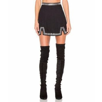 Black Beaded Bandage High Waist Mini Skirt