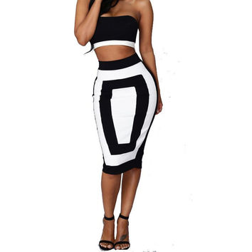 Strapless Crop Top and Midi Bodycon Skirt Set