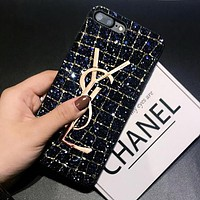 YSL Fashion Shiny Diamond Metal Letter All-Inclusive iPhone Phone Cover Case For iphone 6 6s 6plus 6s-plus 7 7plus iPhone8 iPhone X Blue I12787-1