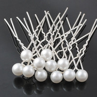 20PC Women Lady Wedding Bridal Prom Party White Pearl Hair Pins Clips Barrette Hairpins Hair Accessories
