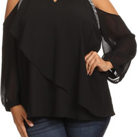 Plus Size Glitter Glam Cold Shoulder Top