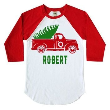 Christmas Truck Kids Raglan Shirt