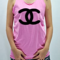 COCO CHANEL  brushing painting Rose Pink Tank Top Tunic women handmade silk screen printing