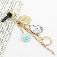 Mobile Accessories Plated Gold Blue Resin Flower Round Antique Coins Silver Crystal Pearls Stick Dust Plug Pink Cell Charms