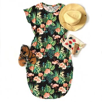 Tropical Print Midi Dress - Last One! Size Medium