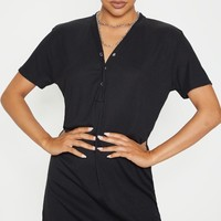 Black Rib Popper Front T Shirt Dress