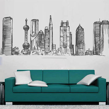 Hong Kong Skyline Wall Decals Hong Kong Wall Decals Chinese wall decals Cityscape Hong Kong Wall Decals China Wall Decals kik2405