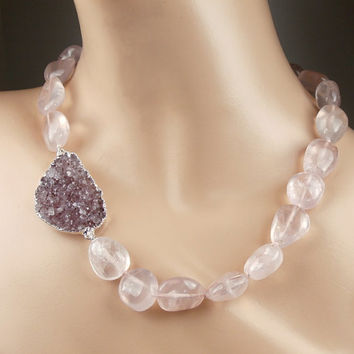 SALE 35% OFF Large  Druzy Necklace Rose Quartz Chunky Choker Lavender Druzy