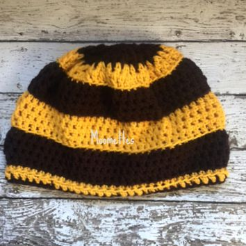 Handmade Brown Yellow Beanie Stripe Crochet Skull Cap Adult Womens Mens Hat