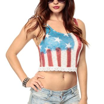 American Flag Tie Dye Crop Tank @ Cicihot Top Shirt Clothing Online Store: Dress Shirt,Sexy Womens Shirt,T Shirts,Corset Dress,White T Shirt,Girl T Shirt,Short sleeve top