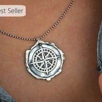 Best Selling Jewelry, Best Etsy Jewelry, Etsy's Best Selling Jewelry, Compass Necklace, Best Seller Necklaces, Silver Necklace Best Sellers