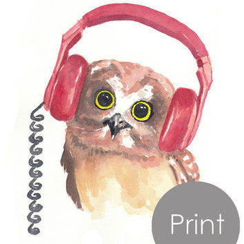 Owl Watercolor PRINT - Music Art, Headphones, Open Edition Print, 8x10