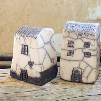 Raku fired Ceramic houses Handmade Unique Ceramics  Architectural Home decor, raku pottery, black and white