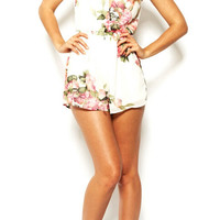 Floral Dress Spring - White Sleeveless Hollow Floral Jumpsuit