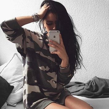 RWL BOUTIQUE Long Sleeve Womens Camouflage T Shirt 2018 Summer Army Military Ladies Workout tshirt Tops Oversized t-shirt Tee Shirt Femme