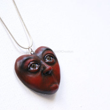 OOAK heart pendant: Love Is Silence!!! One of a kind air dry clay heart portrait sculpture as a pendant, completely handmade