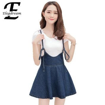 CREY8UH Elegdream New 2017 Summer Vintage Sweet Preppy Style Women Short Mini Denim Skirt Lady Girl A-line Suspender Skirts Blue S L XL
