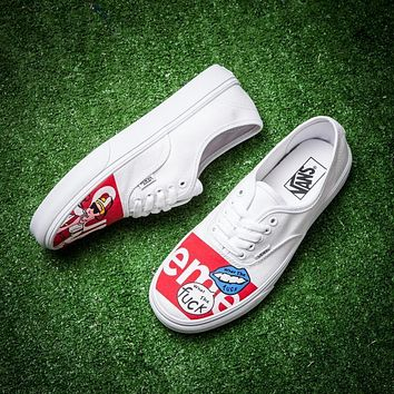 Best Online Sale Supreme x Vans Classic White Red Sneaker Casual Shoes Skateboard Shoe