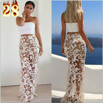 Plus Size Long White Hollow Lace Cotton Women Skirts Summer Sexy High Waist Pencil Skirts Embroidery Perspective Mesh Maxi Skirt