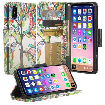 Apple iPhone X, Iphone 10 Case, Wrist Strap Faux Leather Flip [Kickstand] Protective Wallet Case Cover - Vibrant Tree