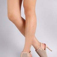 Perforated Nubuck Peep Toe Stiletto Heel