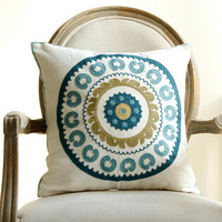 "18"" rustic style decorative throw pillows flower high quality embroidery cushions home decoration"