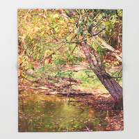 Autumn At Hickory Ridge Pond Throw Blanket by Theresa Campbell D'August Art