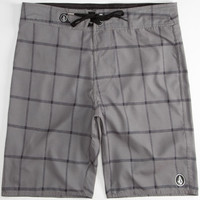 Volcom Plaid Mody Mens Boardshorts Grey  In Sizes