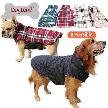 Cozy Waterproof Windproof Reversible Plaid Dog Vest Winter Coat