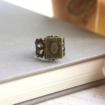 A Tiny Librarian Locket Ring.  A Book Locket Vintage Style Adjustable Locket Ring. Bookworm. Unique. Secret notes, Wizard Book Of Spells.