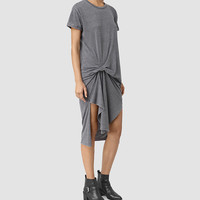 ALLSAINTS US: Womens T-Rivi Dress (COAL BLACK/ASH GRY)