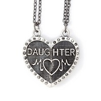 Mom and Daughter Hematite Half Hearts Magnetic Pendant Necklaces Set of 2 | Claire's