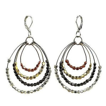 Ombre Metallic Tiered Loop Earrings - WorldFinds