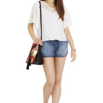 Contrast Inset Top in White - BCBGeneration