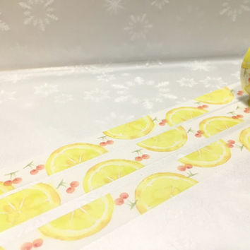 lemon washi tape 10M mixed fruit lemon cherry yellow masking tape fresh fruit party deco sticker tape lemon theme gift wrapping tape