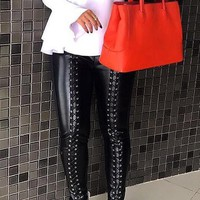 Black Patchwork Lace-up Side Slit Zipper High Waisted PU Leather Long Pants