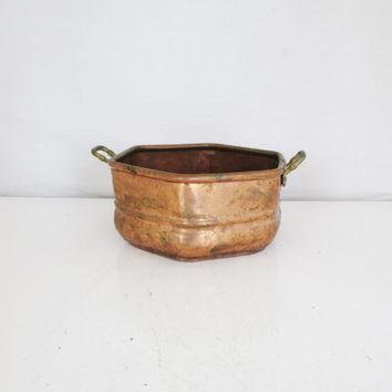 Copper Planter Vintage Hammered Copper Bowl Copper Planter with Brass Handles Vintage Planter Industrial Copper and Brass Pot Octagon Bowl