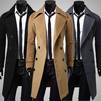 Double Breasted Long Sleeves Spring Wool Blend Turn-down Collar Tench Coat
