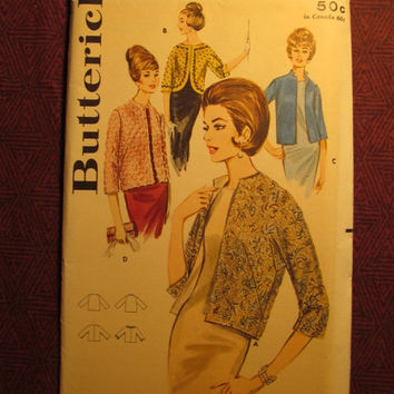 SALE Uncut 1960's Butterick Sewing Pattern, 2884! Size 12 Bust 32 Small/Med/Women's/Misses/Evening Jackets/Cardigan Jacket/three-quarter sle