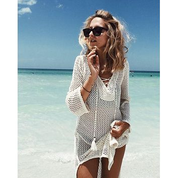 White Crochet Lace-Up w/ Tassel Beach Cover Up