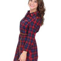 RESTOCK Tangled Up In Plaid Belted Dress | Monday Dress Boutique