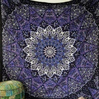 Blue Color Star Mandala Hippie Psychedelic Wall Tapestry Bohemian Wall Hanging Throw Boho Bedding Bedspread Home Decor Art