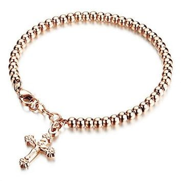 Lovage Stainless Steel Beads Link Bracelet for Women Men Girls Latin Cross Charm Chains Rose Gold amp Polished Color