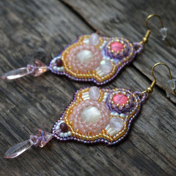 Pink Purple Bead Embroidered earrings Long Beadwork Earrings Bead Embroidery jewellery Seedbead earring Romantic Bead Embroidered gift girly