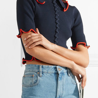Opening Ceremony - Criss Cross cropped ribbed-knit top
