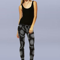 Black and Grey Sun and Moon Celestial Leggings