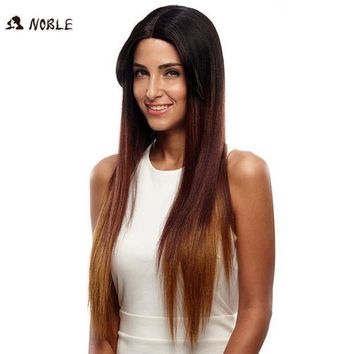 Noble Wigs For Black Women Straight New Lace Front Wig Synthetic Hair 30' Ombre Color Heat Resistant Cosplay Wig Free Shipping