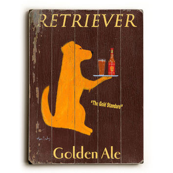 Retriever Golden Ale by Artist Ken Bailey Wood Sign