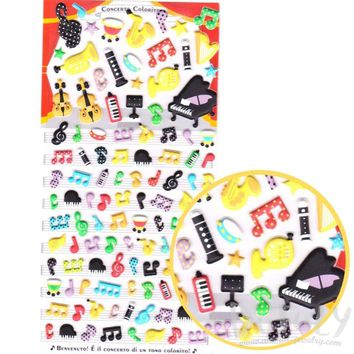 Musical Notes and Instruments Piano Violin Harp Shaped Puffy Stickers | Music Themed Stickers