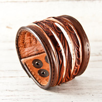 February Trends Leather Cuff Unique Gift by rainwheel on Etsy